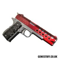 WE 1911 Hex Cut Silver & Red Airsoft GBB Pistol (Gen 2)